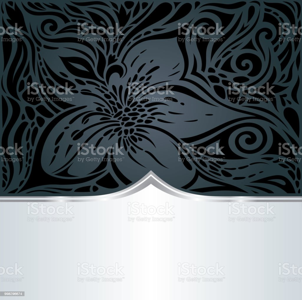 Decorative Black Silver Floral Luxury Wallpaper Background With Trendy Fashion Design Royalty Free