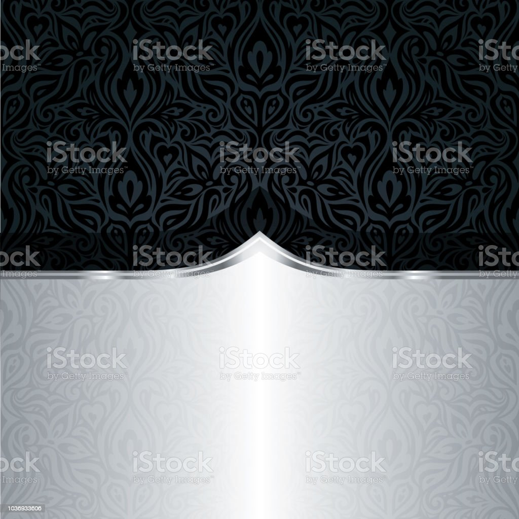 Decorative Black Silver Floral Luxury Wallpaper Pattern Trendy Fashion Background In Vintage Style Royalty