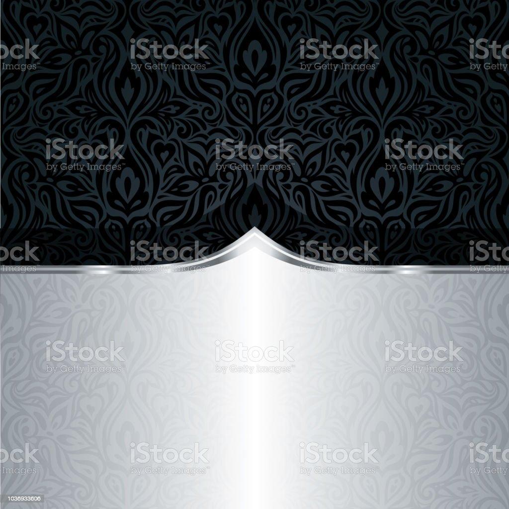 Dekorative Schwarze Silber Floral Luxus Tapeten Muster Trendige Mode