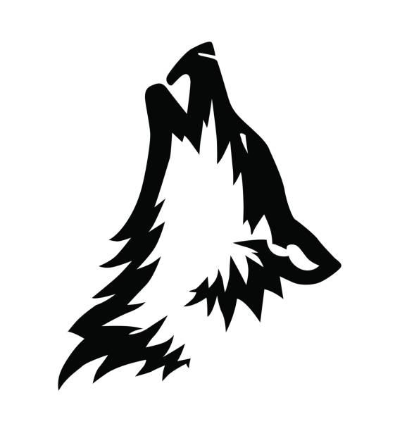 bildbanksillustrationer, clip art samt tecknat material och ikoner med dekorativa svarta vektor vargens huvud illustration eller tatuering design - varg