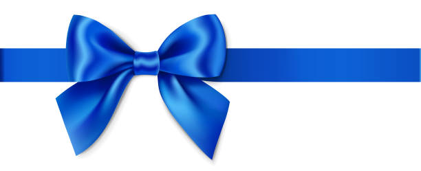 decorative blue bow with horizontal ribbon isolated on white background for page decor - tied bow stock illustrations