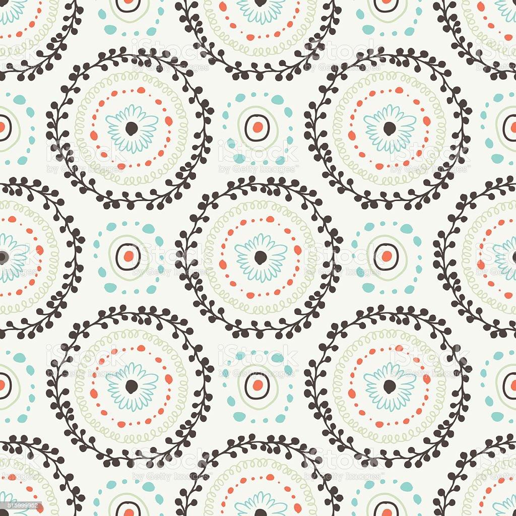Decorative boho seamless pattern vector art illustration