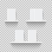 Decorative bookshelves realistic vector illustration
