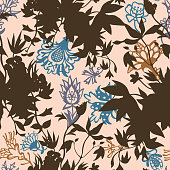 Fantasy floral. Decorative botanical vector seamless pattern made of abstract oriental flowers mixed with silhouettes of wild flowers. Flat line drawing.