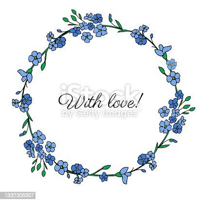 istock Decorative botanical wreath myosotis, round frame Forget-me-not flower, hand drawn doodle ink sketch illustration, wild flower, floral design for greeting card, wedding invite, cosmetic packaging 1332305307
