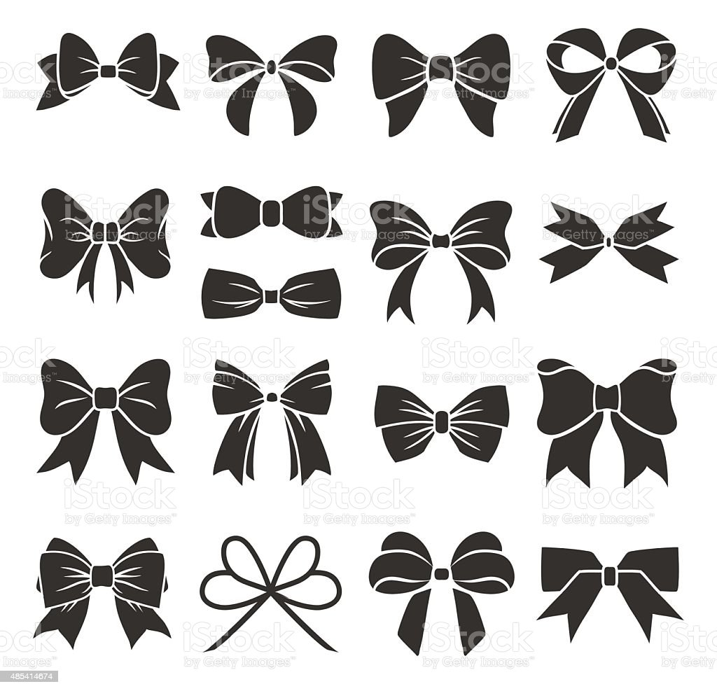 Decorative bows vector art illustration