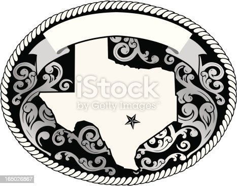 Decorative Buckle with Texas map.