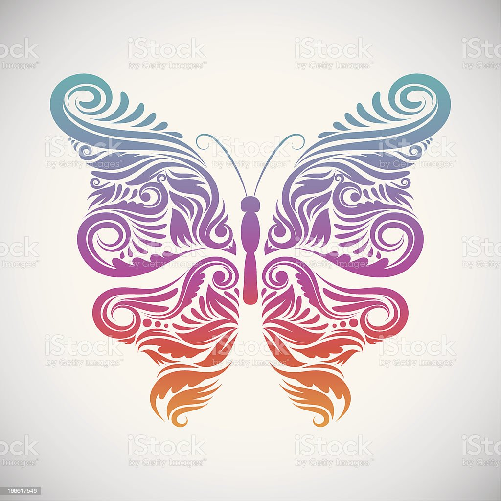 Decorative Butterfly Rainbow vector art illustration