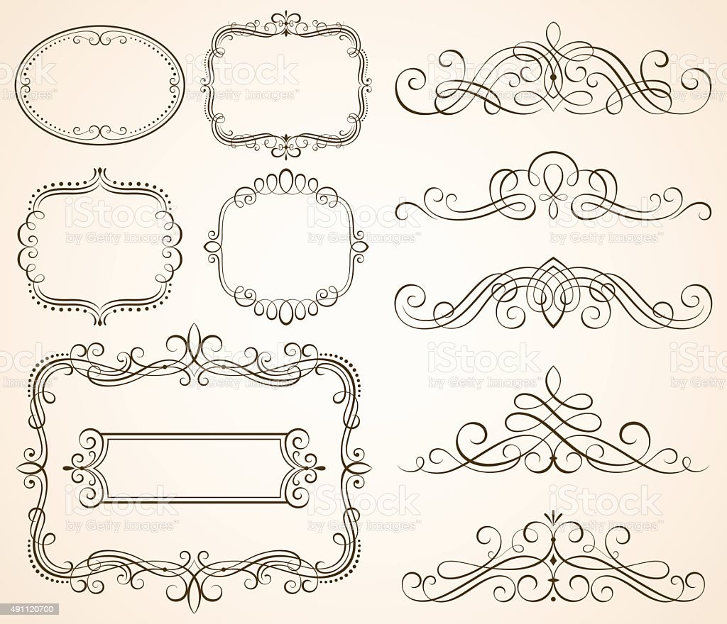 Decorative calligraphic frames ii stock vector art more