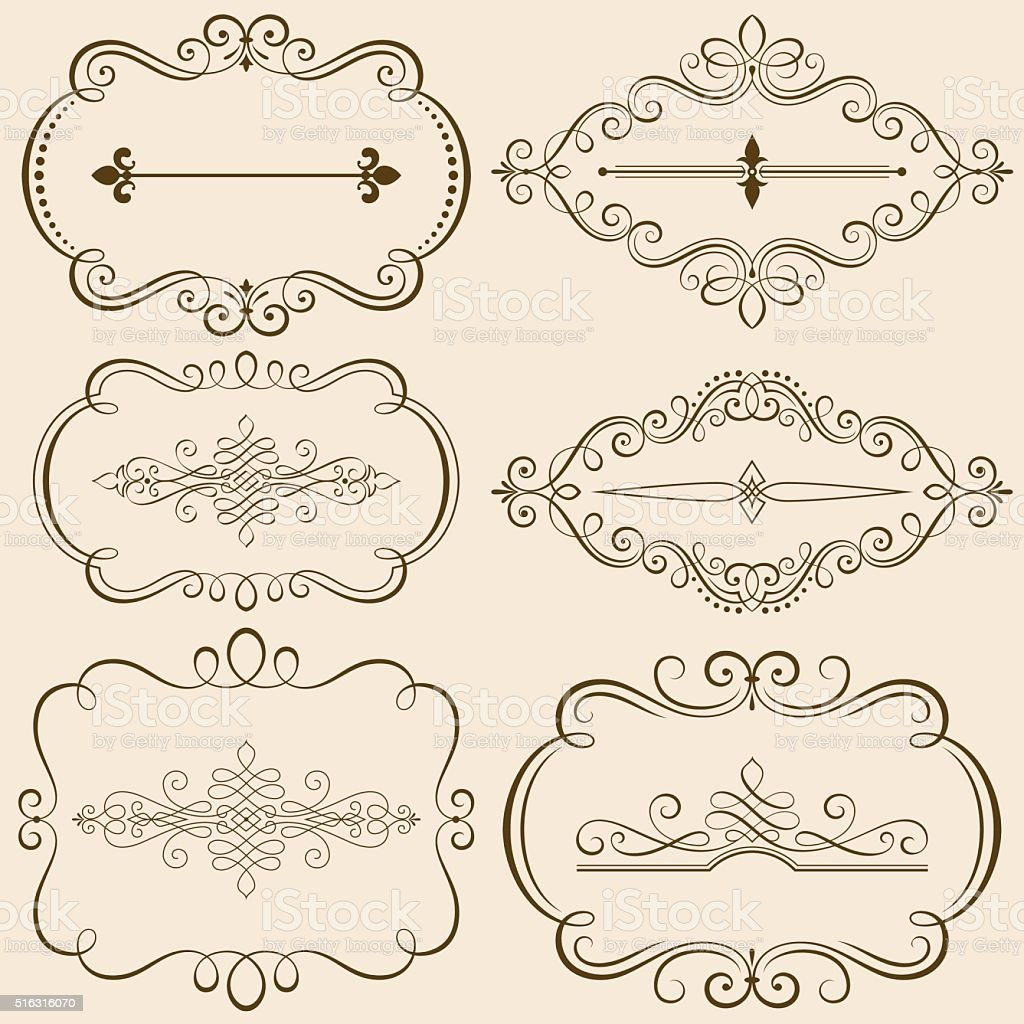 Decorative Calligraphic Frames III vector art illustration