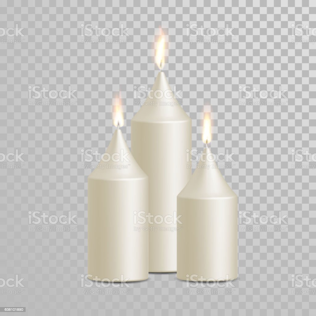 Decorative candle white vector isolated set - Illustration vectorielle