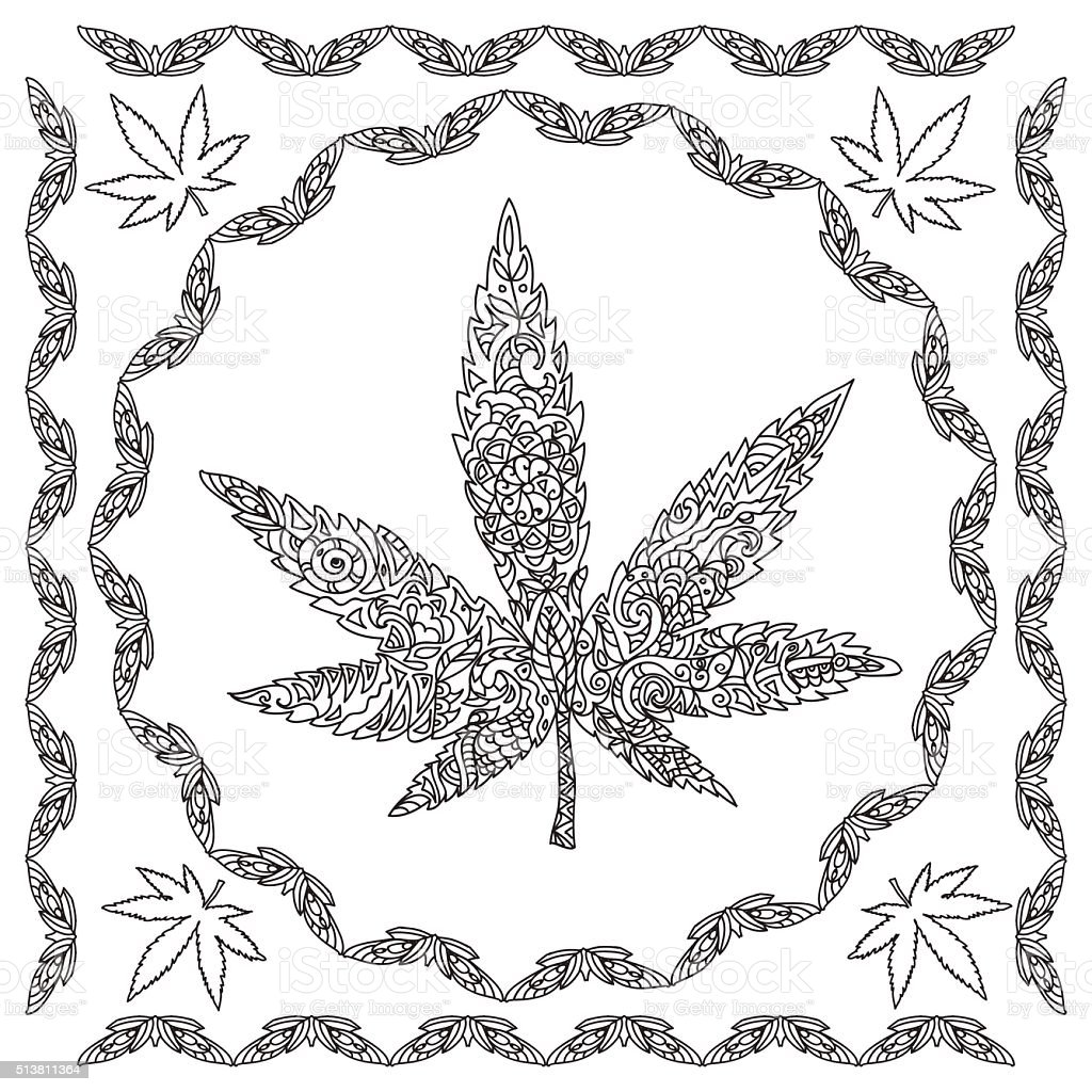 Ilustración De Cannabis Página Para Colorear Decorativo Y