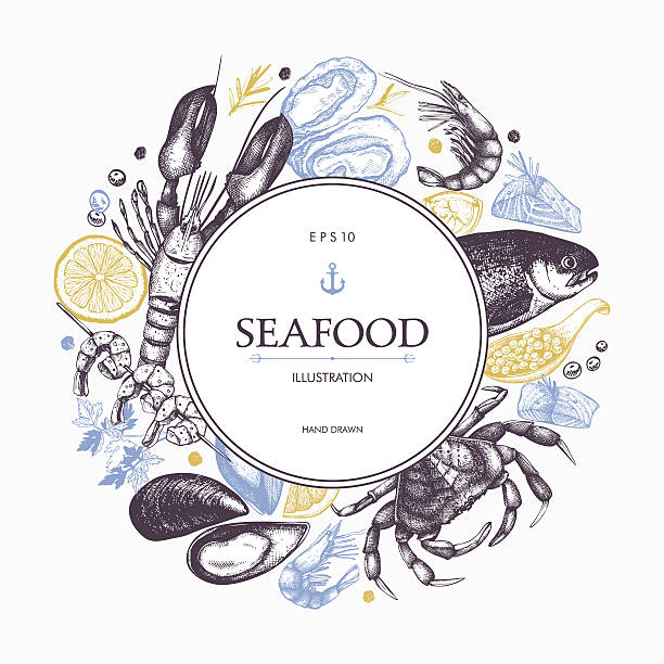 decorative card or flyer design with sea food sketch. - fische und meeresfrüchte stock-grafiken, -clipart, -cartoons und -symbole
