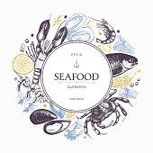 Decorative card or flyer design with sea food sketch.
