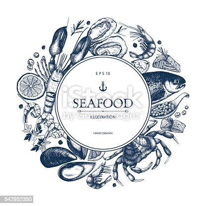 istock Decorative card or flyer design with sea food sketch. 542952350