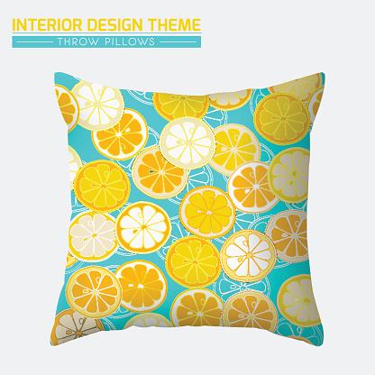 Decorative Cheerful Throw Pillow design template.