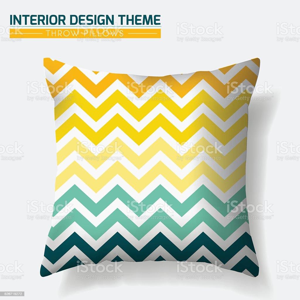 Decorative Cheerful Zig Zag Throw Pillow design template vector art illustration