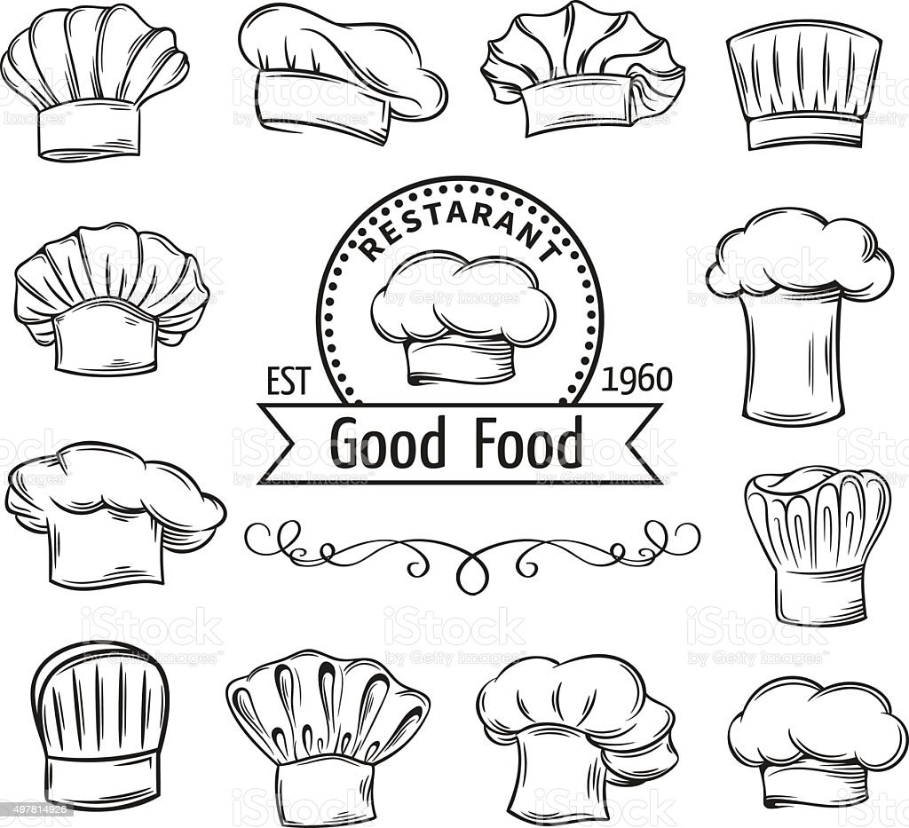 Decorative chef toques vector art illustration