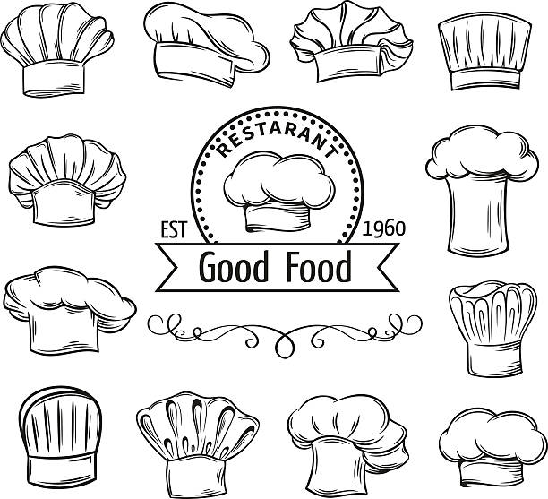 Decorative chef toques Decorative chef toques and hats set  for restaurant, cafe and menu design chef's hat stock illustrations