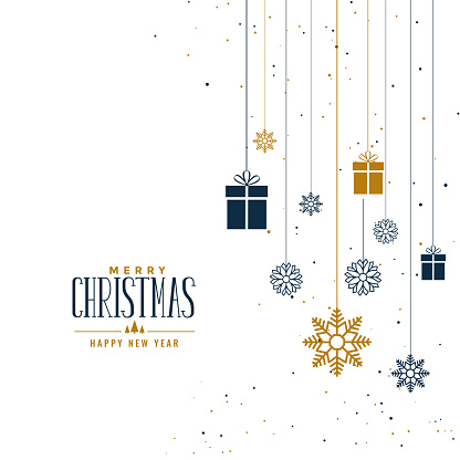 decorative christmas background with gifts and snowflakes