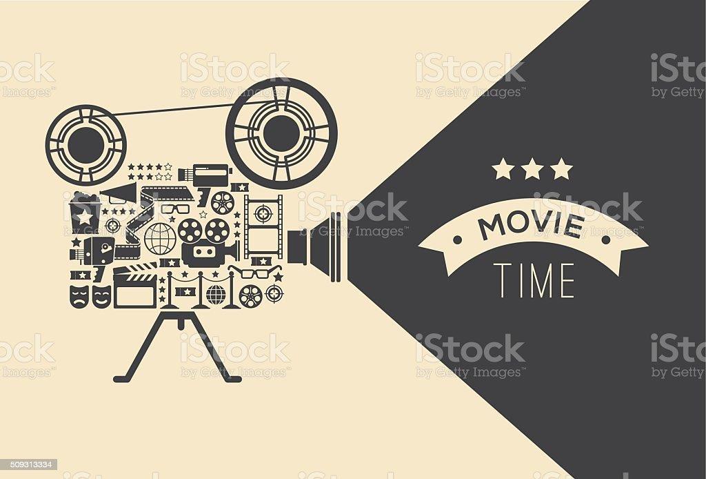 Decorative cinema template. vector art illustration