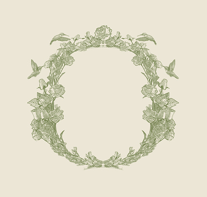 Decorative circle frame with hummingbirds and flowers