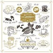 Decorative cocoa schocolate design set. Calligraphic elements, page decoration and vintage frames.