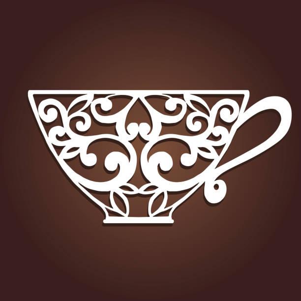 dekorative kaffeetasse. laser-schneiden-vektor-cup. - stanzen stock-grafiken, -clipart, -cartoons und -symbole