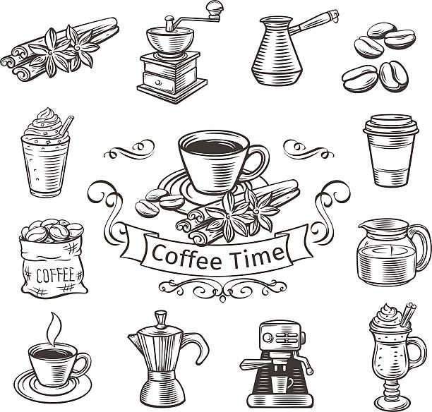 ozdobne kawy ikony zestaw. - espresso stock illustrations