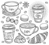 Decorative coffee set. Americano, latte, cappuccino cup, coffee beans, croissant, macaroons, candy, sugar, french meringue cookie. Isolated on white background. Hand drawn in lines vector illustration