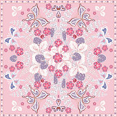 Decorative color floral background, strawberry and butterfly pattern  ornate lace