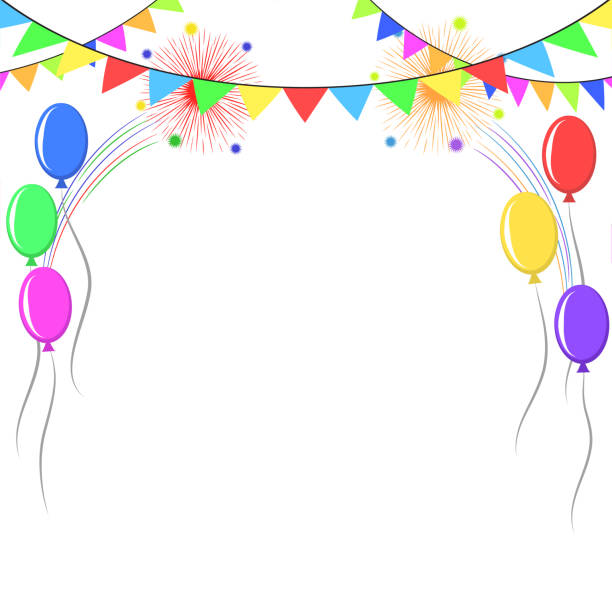 decorative colorful balloons and pennants over white background. birthday party decorations. stock vector illustration - anniversary clipart stock illustrations