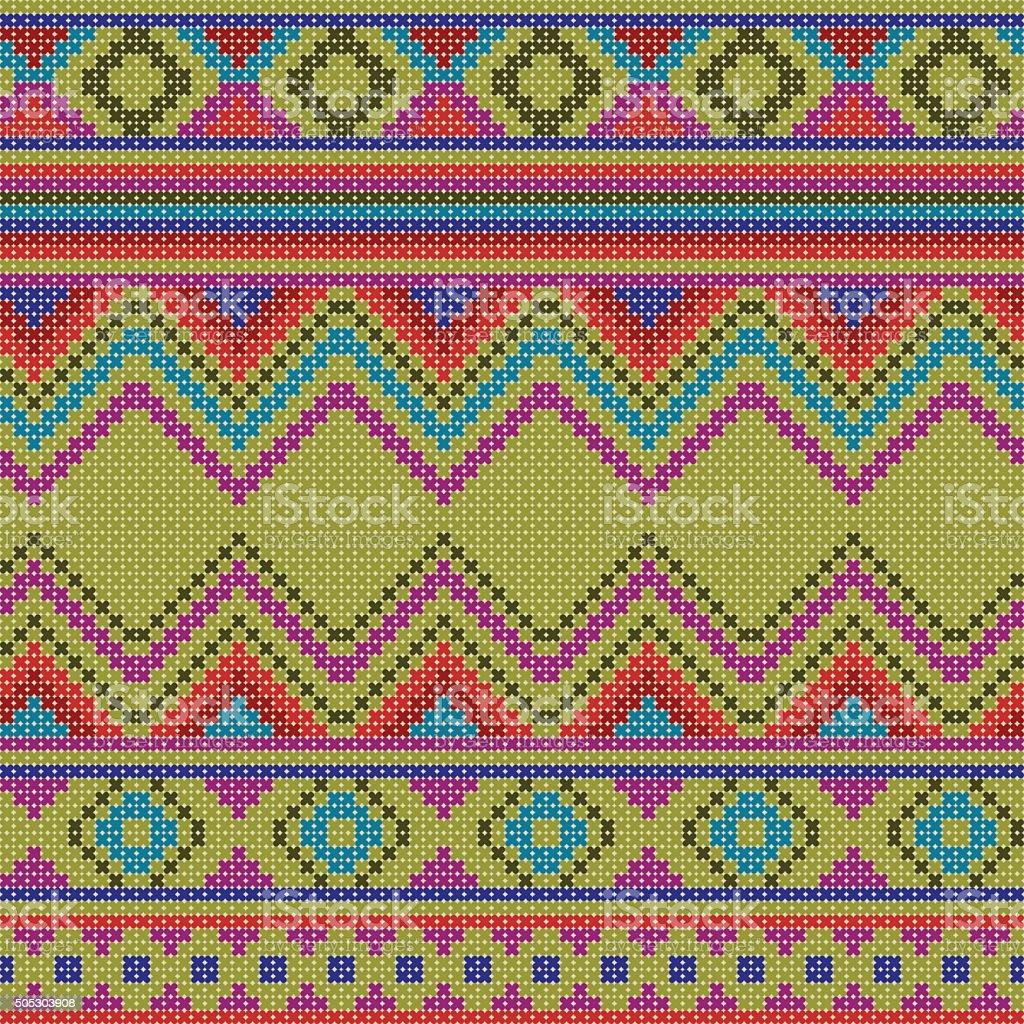 decorative colorful ethnic x-stitch seamless pattern vector art illustration