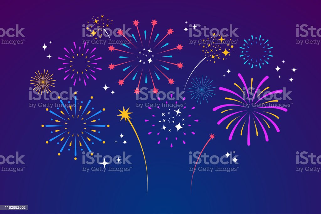 Decorative colorful fireworks explosions isolated on dark background. New Year's Eve fireworks. Festive sparks and explosions. Element for yor design. Vector illustration - Royalty-free Abstrato arte vetorial