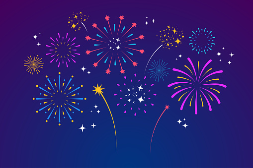Decorative colorful fireworks explosions isolated on dark background. New Year's Eve fireworks. Festive sparks and explosions. Element for yor design. Vector illustration