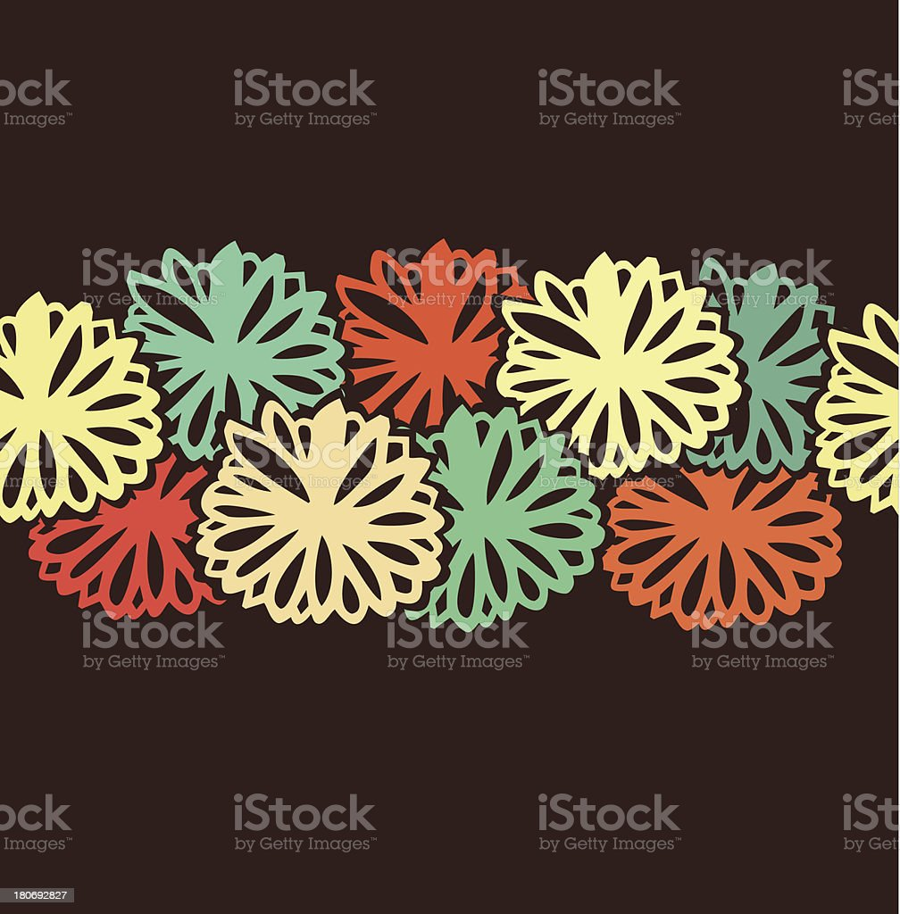 Decorative colorful flowers stripe royalty-free stock vector art