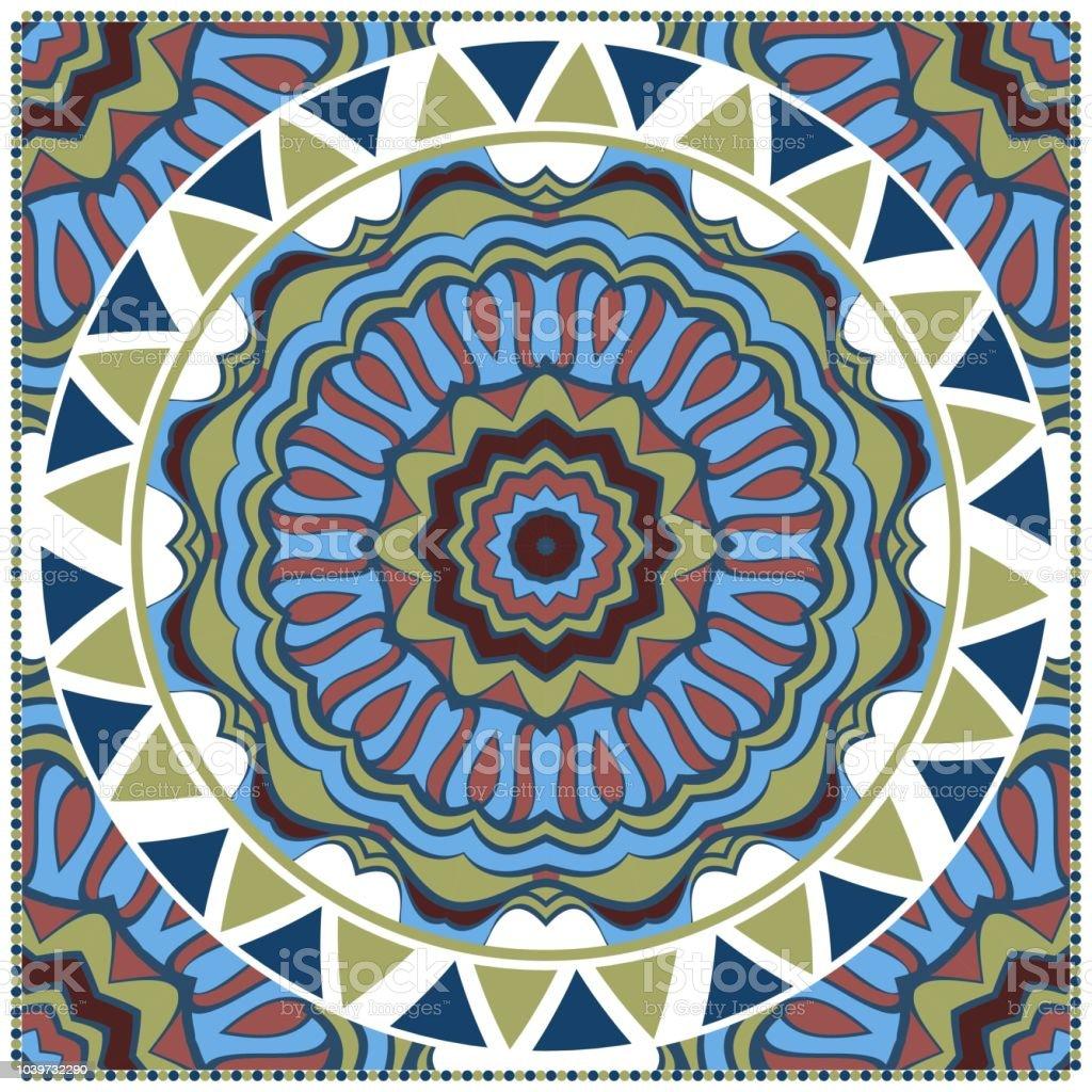 0bc7659a609 Ornement coloré décoratif décoration mandala rond. modèle symétrique.  Design pour imprimés foulard