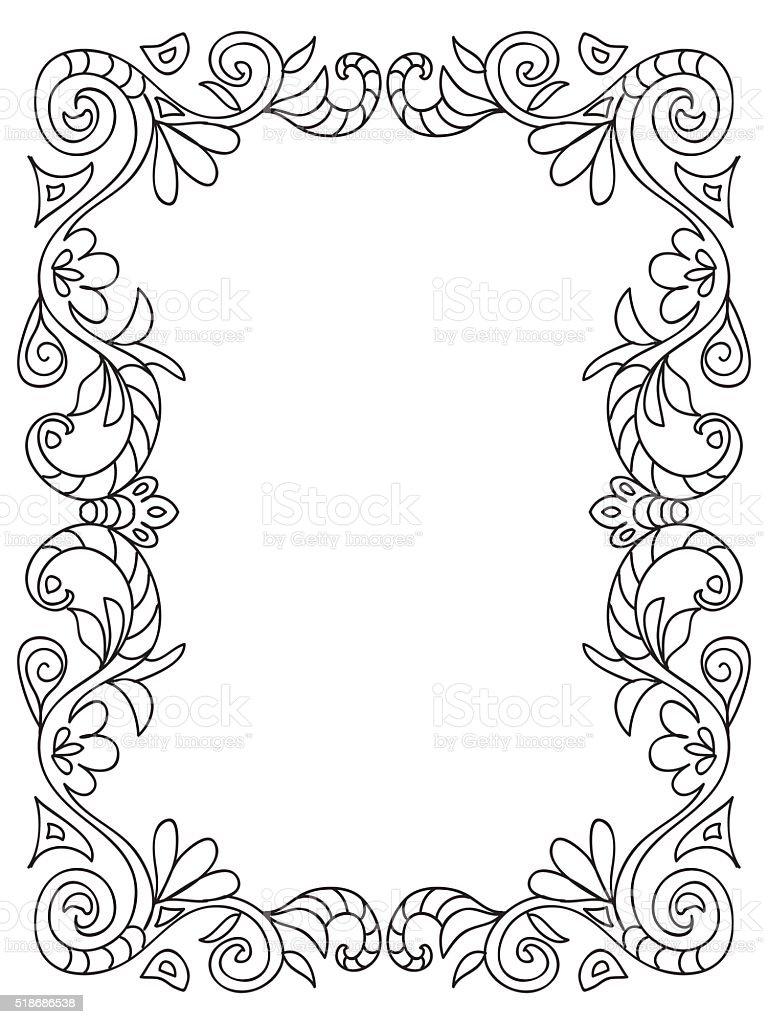Ilustración de Marco Decorativo Flores Para Colorear y más banco de ...