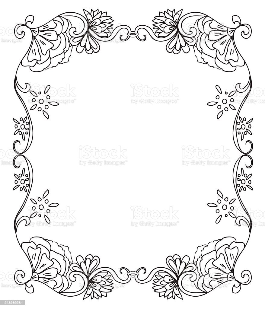 Decorative Coloring Floral Frame Stock Vector Art & More Images of ...