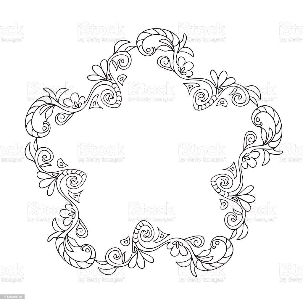 Ilustración De Marco Decorativo Flores Para Colorear Y Más Vectores