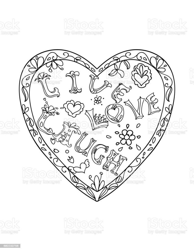 Kalp Seklinde Cerceve Li Dekoratif Boyama Sayfasi Canli Ask Gulmek