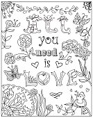 Decorative Coloring poster all you need is love on white