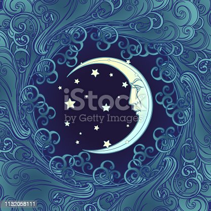 Decorative composition with stylized human faced moon and stars. Medieval gothic style seamless pattern. EPS10 vector illustration