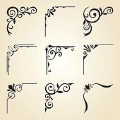 Vector illustration of decorative corner frame set.