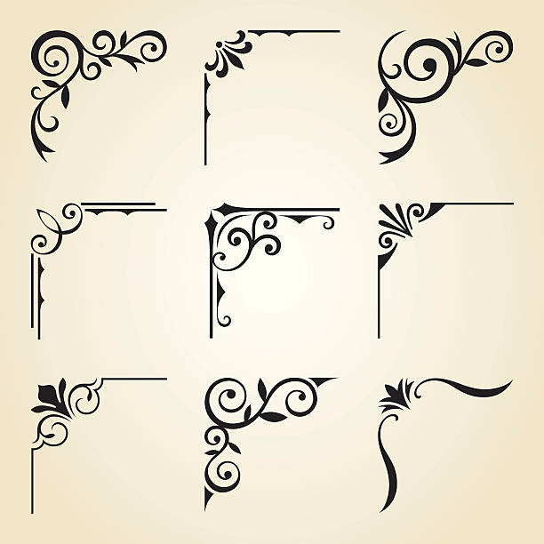 decorative corner frames - dekoratif stock illustrations, clip art, cartoons, & icons