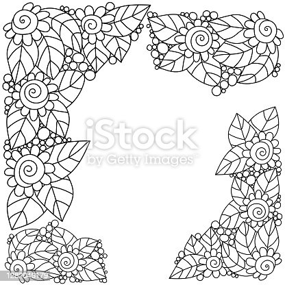 istock Decorative corners from contour doodle flowers and leaves, coloring page antistress from zen plants with spirals and circles 1282046179