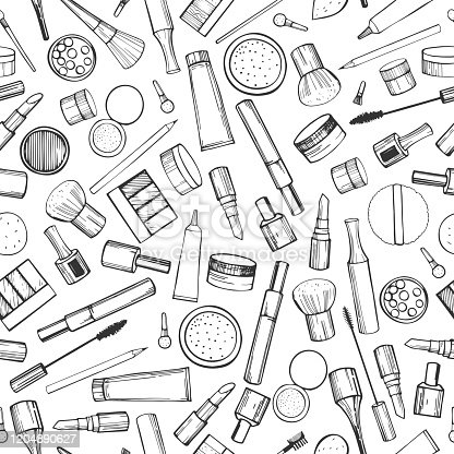 Decorative cosmetics for makeup. Vector   pattern