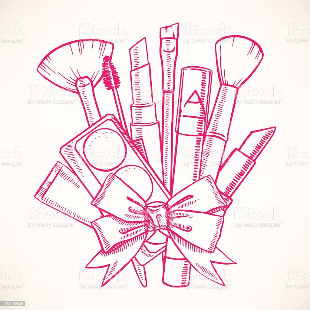 decorative cosmetics with ribbon vector art illustration