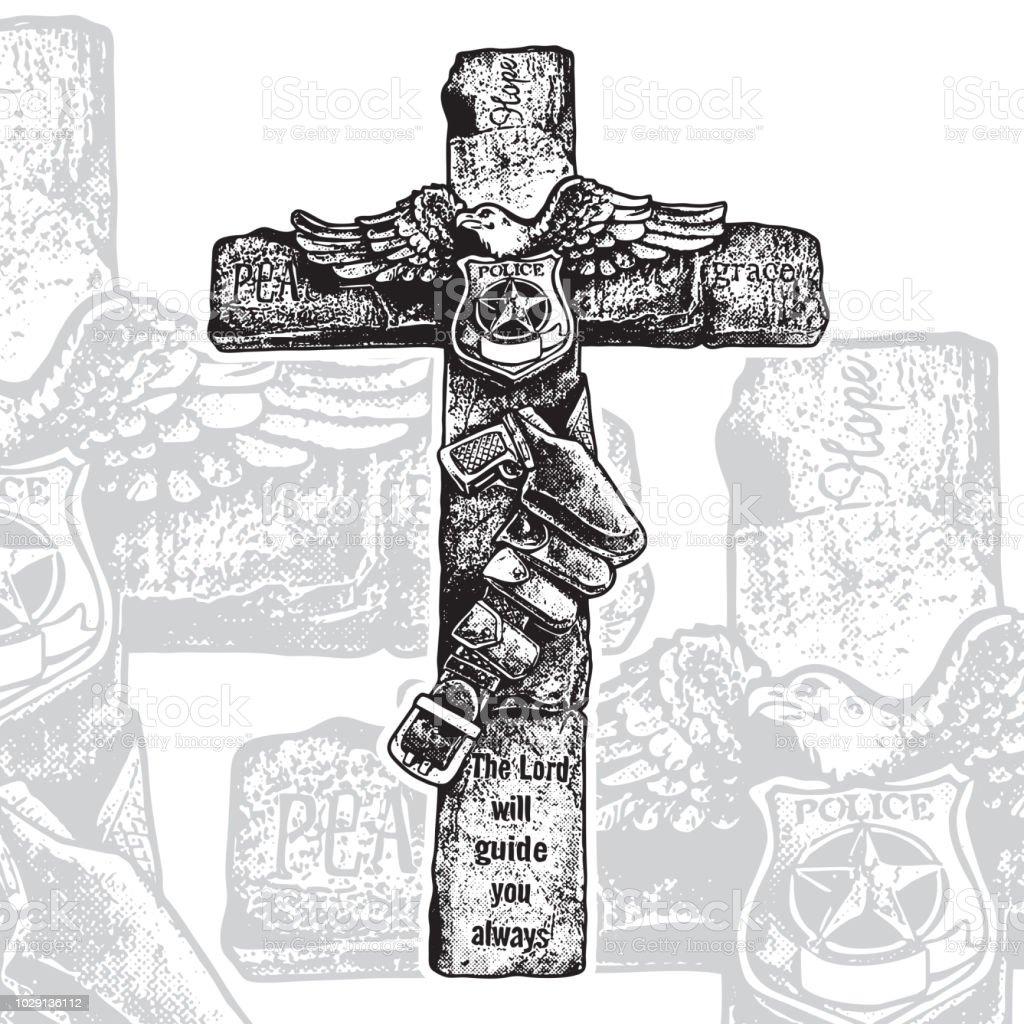 Decorative Cross Emblem With Crucifix Police Badge Eagle Gun