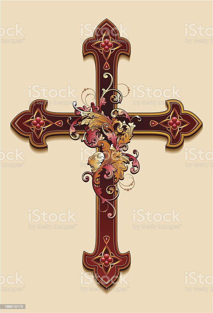 Decorative cross. vector art illustration